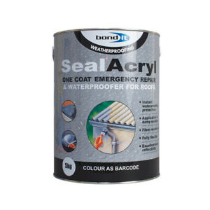 Bond It Sealacryl Waterproofing Acrylic Roof Coating Sealant Fibreglass GRP 5kg