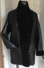 SPRUNG FRERES BLACK LEATHER SHEARLING  COAT small  8-10 uk reversible new tags