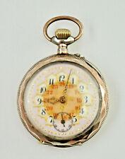 Dekorative Jugendstil-Taschenuhr, Handaufzug, Gehäuse 800er Silber, Ø 4,5cm.(U3)