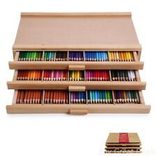 3 Drawer Storage Wood Box Artist Pastel Pen Color Art Tool Case Protect Organize