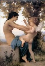 """Bouguereau figure oil painting girl and Cupid Hand-painted copy Unframed 36"""""""
