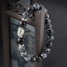 Newest Tibet Silver Buddha Natural White spot stone 8mm beads Man lucky bracelet
