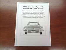 1963 Plymouth Valiant factory cost/dealer sticker pricing for car + fact options