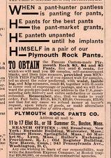 1889 AD PLYMOUTH ROCK PANTS POEM HUNTER PANTLESS PANTING UNPANTED