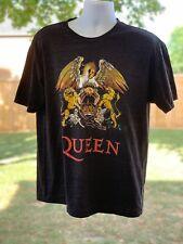 Queen Men's Charcoal Gray T Shirt Classic Crest Band Logo Freddie Mercury Large