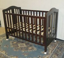 3 in 1 Classic Cot Crib Baby Toddler Bed Wheels Dropside Walnut Brown Timber