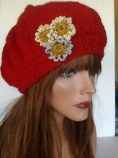 Hand Knit Hat Beret Beanie Slouch Designer Fashion Chic  Red Gold Silver Floral