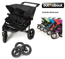 Out n About Double Nipper 360 V4 with EVA Wheels and Raincover - Raven Black