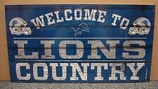 "DETROIT LIONS WELCOME TO LIONS COUNTRY WOOD SIGN 13""X24'' NEW WINCRAFT"