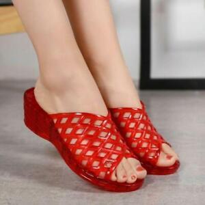 Women Summer Hollow Low Heel Jelly Slippers Open Toe Sandals Comfort Ladies Shoe
