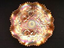 "Early Century Northwood Carnival Glass ""Wishbone"" Ruffled Footed Bowl"
