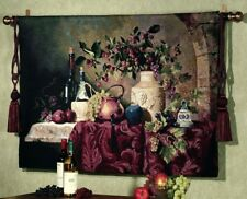 "TUSCAN TABLE TOSCANA WINE FRUIT GRAPES WINERY TUSCANY EUROPEAN 53"" TAPESTRY"