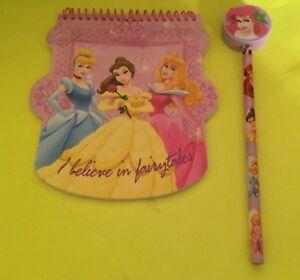 Walt Disney Princess Notepad + Princess Pencil Ariel Eraser - New