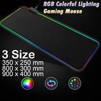 Large RGB Gaming Mouse Pad 7 Colors Light Up Backlit Non-Slip Desk Keyboard Mat