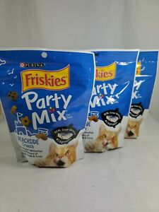 3 Bags Purina Friskies 6 Oz Party Mix Beachside Crunch Cat Treats free ship
