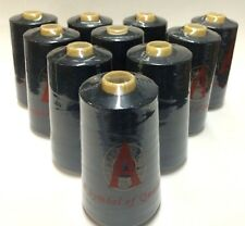 10 Cones, T-24 (50/2) Black Serger Sewing Machine Thread (6000 Yards, 100% Poly)