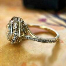 Art Deco 4Ct Brilliant Cut Moissanite Engagement Ring Solid 14k Yellow Gold Fn