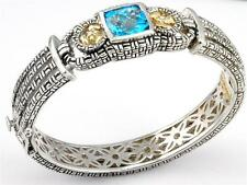 Philip Andre 18k Gold & Sterling Silver Blue Topaz & Diamond Bangle Bracelet