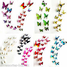 12X Art Decal Home Decor Room Wall Stickers 3D Butterfly Stickers Decorations