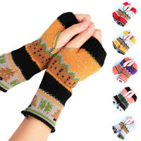 Women Fingerless Knitted Gloves Winter Warm Long Arm Warmer Mittens Xmas Gift Tk