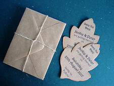 12pk Personalised Vintage Autumn Leaf Shaped Save The Dates + Envelopes #2