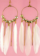 F1518 fashion white Feather circle chain beads chandelier earrings jewelry