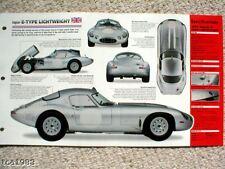1963 JAGUAR E TYPE  LIGHTWEIGHT SPEC SHEET/Brochure
