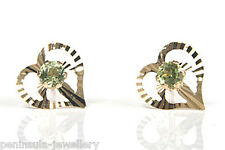 9ct Gold Peridot Heart Studs Earrings Made in UK Gift Boxed Christmas Xmas Gift