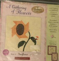 A GATHERING OF FLOWERS #2 SUNFLOWER FABRIC APPLIQUE QUILT BLOCK 11X11 CRAFTS