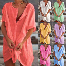 Women V Neck Cotton Linen Asymmetrical Loose Tunic Top T Shirt Blouse Mini Dress