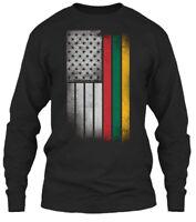 Lithuanian American Flag Usa Lithuania T Gildan Long Sleeve Tee T-Shirt