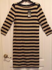 Ralph Lauren Striped Metallic Sweater Dress Size Small NEW $149 retail