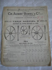 vintage catalogue supplement 1916 Metal Wheel makers Ch Aubry borel & Cie french