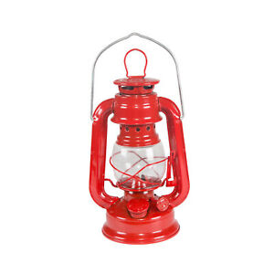 STANSPORT HURRICANE LANTERN RED 8 IN METAL GLASS GLOBE OUTDOOR CAMPING NEW