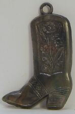 VINTAGE COWBOY BOOT METAL KEY FOB CHARM FLOWER DECORATION