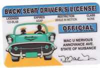 backseat driver id - plastic ID card Drivers License  Back Seat Driver's License