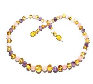 100% REAL Adult Tara Moon Baltic Amber Moonstone Amethyst Rose Quartz Necklace