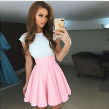 Womens Lace Short Sleeve Dress Cocktail Party Evening Dress Formal Prom Dresses