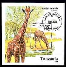 Animaux Girafe Tanzanie (47) bloc oblitéré