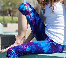Purple Tie Dye Crop Yoga Leggings Cotton/Span Hand Dyed Sizes XXS-6XL inc Plus