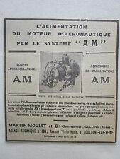 1932-1935 PUB MARTIN MOULET OULLINS POMPE MOTEUR AERONAUTIQUE ORIGINAL AD