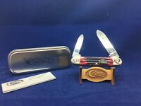 2013 Case Collector Tour Canoe Knife Red Bone Handles Scrolled Bolsters Mint-#4