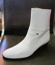 "Men Genuine Leather WHITE Casual Dress Ankle BOOTS Zipper 1.75""Heel, Size 8.5 US"