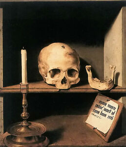 Oil painting barthel bruyn - vanitas still life skull with candle hand painted