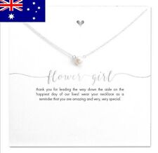 Silver FLOWER GIRL Wedding Inspirational Message Pearl Pendant Necklace Gift NEW