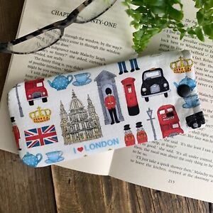 I love London fabric glasses case spectacle pouch Handmade gift idea
