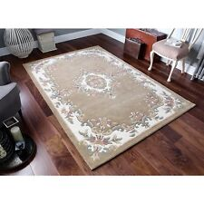 Royal Aubusson Beige Wool Rug in various sizes half moon and circle