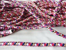 1 metre x 12mm MULTI Faux Leather Round Plaited Cord:Bag Handles Jewellery Craft