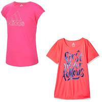 New Adidas Girls' Short Sleeve Graphic Tee Shirts
