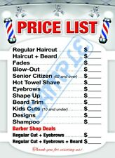 Barbershop Price List by Clipper Int'l Posters, Barber poster, 24 x 36 Laminated